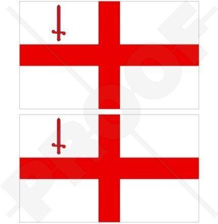 STADT LONDONS Flagge St. George's Cross England Großbritannien UK 100mm Auto & Motorrad Aufkleber, x2 Vinyl Stickers (St George Flagge Aufkleber)