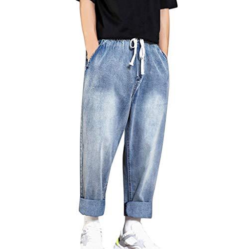 Xmiral Jeans Uomo Rilassato Gamba Elasticizzata Jean Estate Casual Lungo Skateboard Straight Moda Jean Plus Size (S,2- Azzurro)
