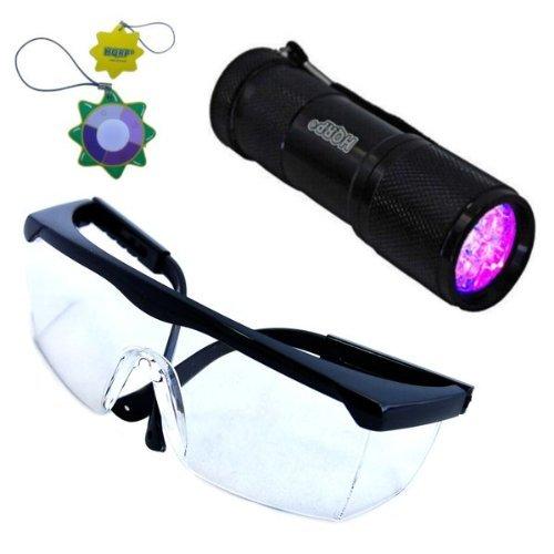 HQRP UV-Taschenlampe Prüfgerät Ultraviolett Professional 9 LED 365 nm mit HQRP UV Sicherheitsgläsern + - Uv-lampe Intensität Die