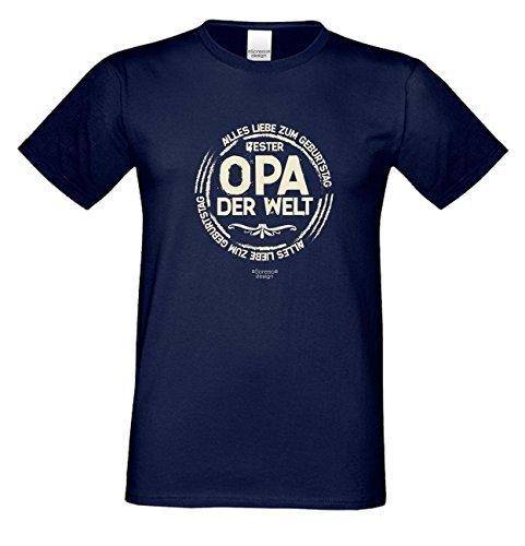 Geburtstagsgeschenk Opa Großvater :-: Motiv Kurzarm T-Shirt mit Geburtstagsaufdruck :-: Bester Opa der Welt :-: auch in Übergrößen 3XL 4XL 5XL :-: Farbe: navy-blau Navy-Blau