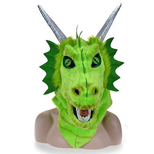 Realistische Drachen Kostüm - ManY Viele Kostüm Kopf Maske Anzeigen-Design, das Mund-gelbe Drache-Kopf-Bunte Tierpartei-Maske mit Urheber-Mund bewegt (Color : Green)