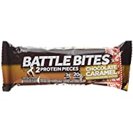 Battle Bites High Protein Bar, Low Carb and Low Sugar Protein Bars, Chocolate Caramel, 12 x 62g Bars (2 x 31g Pieces per Bar) Baked by Battle Oats