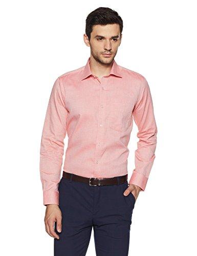 Van Heusen Men's Solid Slim Fit Formal Shirt (VHSF318M010837_Orange_39)