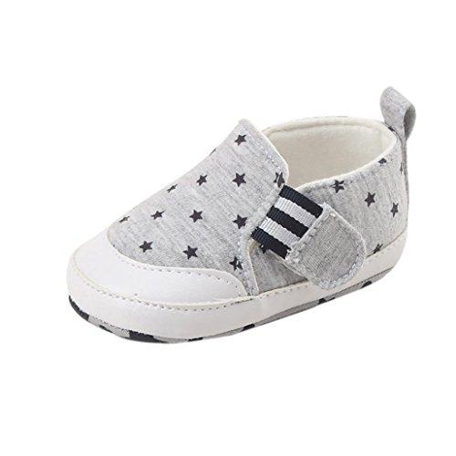 FNKDOR Baby Neugeborene Schuhe, Jungen Mädchen Weiche Lauflernschuhe Rutschfest (6-12 Monate, Grau)