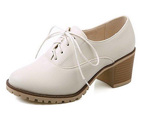 AllhqFashion Femme Lacet Pu Cuir Rond à Talon Correct Couleur Unie Chaussures Légeres Beige
