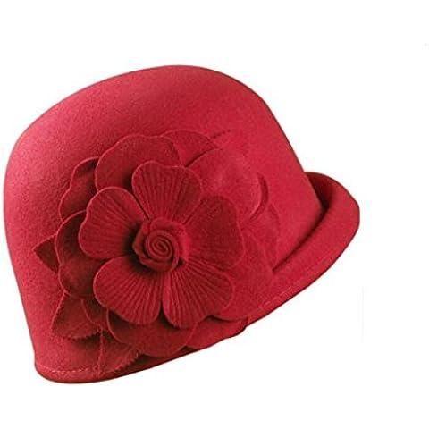 WE&ZHE Lana Mujer sombrero de fieltro Hemming Inglaterra Estilo retro decoración de la flor elegante en otoño e invierno ,