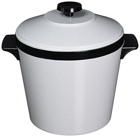 Ice Bucket, Three-Quart w/Lid, Insulated Shatterproof Liner, White w/Black