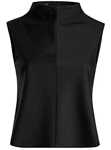oodji Ultra Femme Top Droit avec Zip au Dos Noir (2900N)