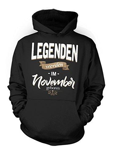 Legenden Werden Im November Geboren Geburtstag Geschenk Herren Hoodie Sweatshirt Schwarz Medium