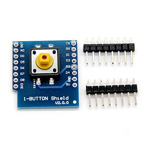 Plug-in-Typ Blue Button Shield für WeMos D1 Mini-Taste mit 4 normalen Stiften, nur 3,3 V-konform - Blau Shield Mini-taste