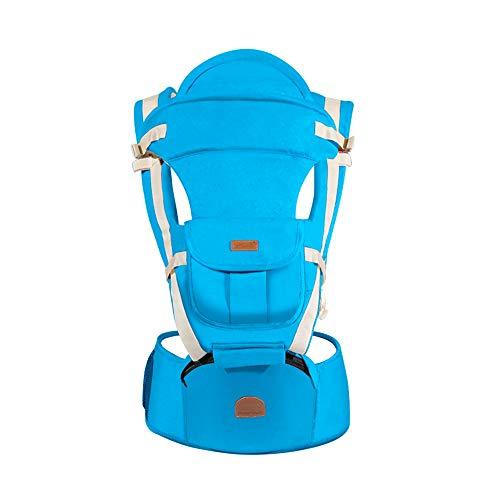QUEEN ROSE 6-in-1 Ergonomische Babytrage, Babybauchtrage & Babyrückentrage mit Sitz (Hellblau)