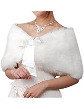 iShine Estola de Invierno para Novia, Chal para Mujer de Piel Sintetica Boda