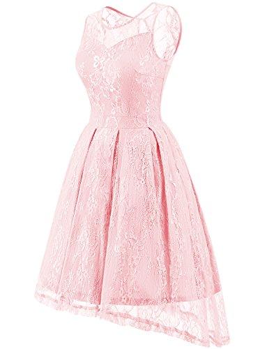 Gardenwed Damen Kleid Retro Ärmellos Kurz Brautjungfern Kleid Spitzenkleid Abendkleider CocktailKleid PartyKleid Pink