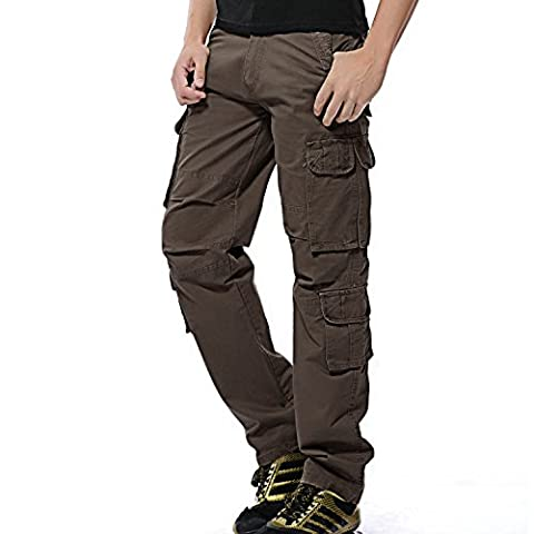 AYG Herren Cargo Hose Baumwolle Militär Hose(Brown,30)