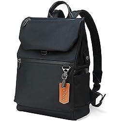 Sac à Dos Ordinateur 14 Pouces avec USB de Charge Sac Port Imperméable Portable Sac à Dos Antivol Université en Nylon pour Femmes et Hommes, Noir