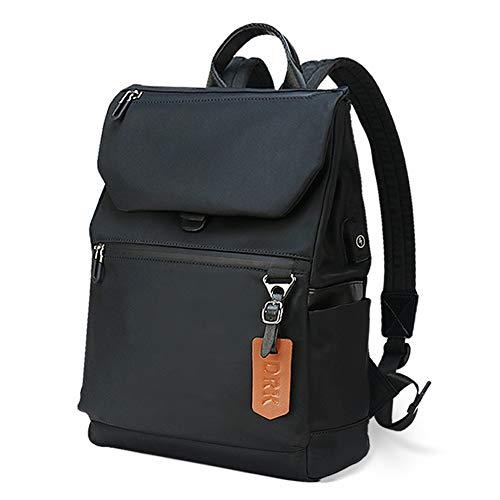 Zaino Antifurto Porta PC 14 Pollici, Zaino Casuale con Caricatore USB Zainetto Impermeabile Donna Uomo per Scuola Universita Viaggio, Nero