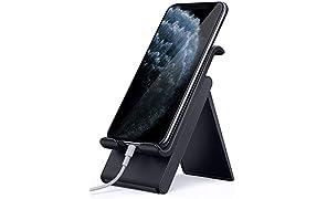 Lamicall Soporte Móvil, Multiángulo Soporte Teléfono - Soporte Dock Base para iPhone 12 Mini, 12 Pro MAX, 11 Pro, XS MAX, XS, XR, X, 8, 7, 6 Plus, SE, Samsung S10 S9 S8, Otras Smartphones - Negro