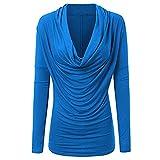 OverDose Damen Herbst-Winter-tägliche Art-Frauen-Art- und Weisedatierung Yoga-dünne Lange Hülsen-Wasserfallausschnitt-Herbst-Winter-T-Shirt Outwear übersteigt Langarmshirts(Blau,EU-34/CN-M )