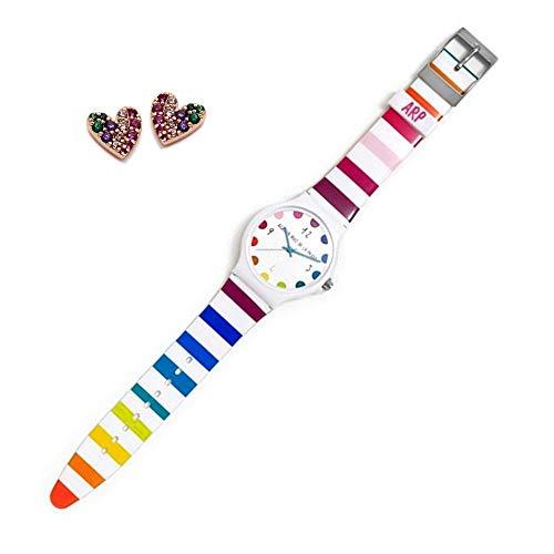 Set Agatha Ruiz de la Prada Uhr Agr242 farbige Streifen Silber-Ohrringe rosa Herz 925m Law - Modell: Agr242