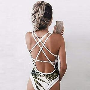 CAOQAO Tre Colori facoltativi Signore Sexy Stampa a Forma di Foglia Cinghie Halter di Un Pezzo Bikini Estate Spiaggia Piscina Essenziale