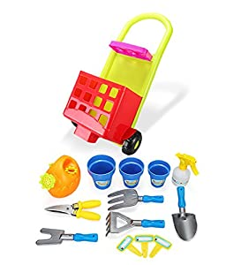 Joueco bn0217736Juegos de imitación-Set de jardinería + Trolley, Azul/Verde/Rojo/Amarillo/Gris/Naranja