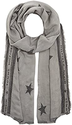 Tommy Hilfiger Star Jacquard Scarf, Bufanda para Hombre, Gris (Frost Gray 077), Talla Única