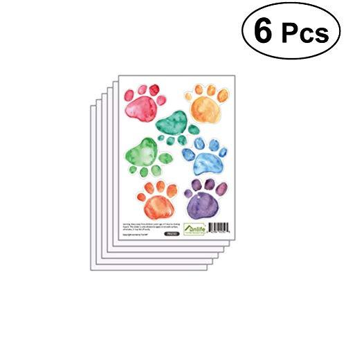 YeahiBaby 6pcs Kinder Zimmer Wand Aufkleber Bunte Paw Print Wandbild Decals Kinder Spielzimmer Dekor (Kinder-spielzimmer Decals)