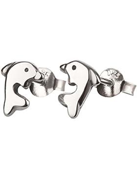SL-Collection Kinderohrringe Ohrstecker kleiner Delfin 925 Sterling Silber