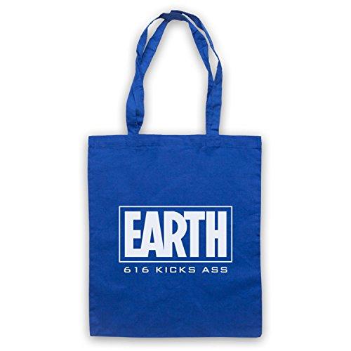 Inspiriert durch Marvel Comics Earth 616 Kicks Ass Inoffiziell Umhangetaschen Blau