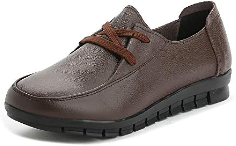 SBL Zapatos de Cuero de la Madre Planos Antideslizantes Corbata Boca Profunda Zapatos Casuales de Mediana Edad...