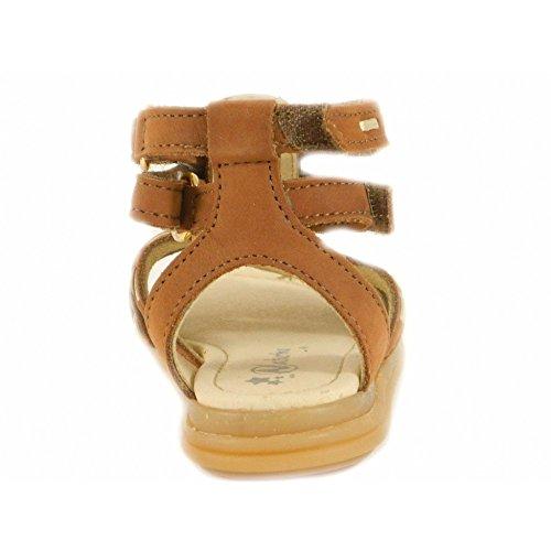 Naturino - Naturino Sandali Bambina Vacchetta Cuoio Oro Velcro Strappi 3490 Marron