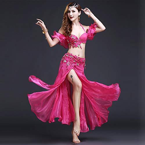 Für Indischen Erwachsenen Kostüm - BT-GIRL Kostüm Damen Nacht Kostüm Damen Erwachsene Indische Bauchtänzerin Kostüme Red/Pink/Blue,Pink,S
