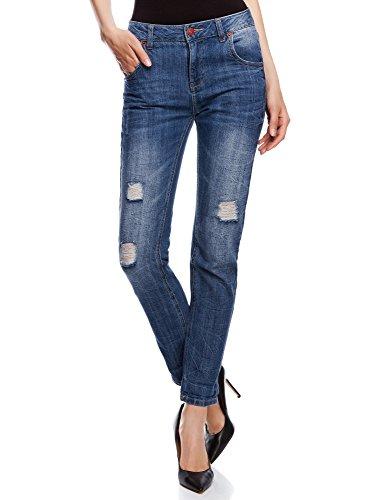 Oodji ultra donna jeans boyfriend effetto invecchiato con strappi, blu, 30w / 32l (it 48 / eu 44 / xl)
