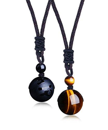 BESTEEL Schmuck 2PCS Perlen Anhänger Halskette für Herren und Damen Natürliche Tigeraugen Stein Onyx Lucky Segen Chakra Heilung Halskette