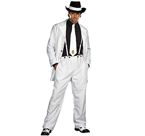 Dreamgirl Herren Kostüm Gangster Mafia Boss Raul Nadelstreifen Anzug weiß Fasching m, L, XL, XXL - Dreamgirl Herren Kostüm