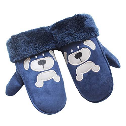 Hikfly guanti invernali per bambini, manopole antivento caldi per neonati ragazzi per bambini sport all'aria aperta scaldini termici natale regalo natalizio (cane, bambini di 3-6 anni, blu)