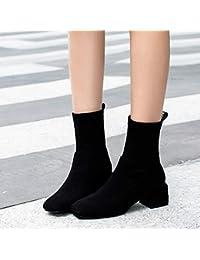 Shukun Botines Botas Ajustadas Botas Cortas Mujer Primavera y otoño Calcetines Botas Mujer Gruesa con Punto
