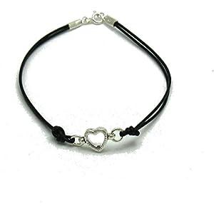 Sterling silber armband herz mit leder 925 Empress jewellery