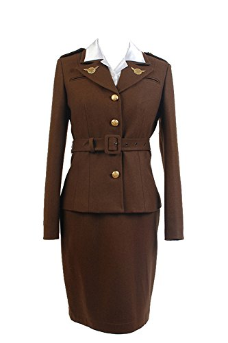 Captain America: The First Avenger Agent Peggy Carter Uniform Suit Cosplay Kostüm L