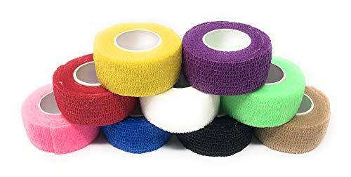 9er-Set Fingerverband | Pflasterverband | Pflaster ohne Kleber - Farbauswahl - 2,5cm x 4,5m - elastisch, wasserabweisend, kohäsiv (Bunter Mix)