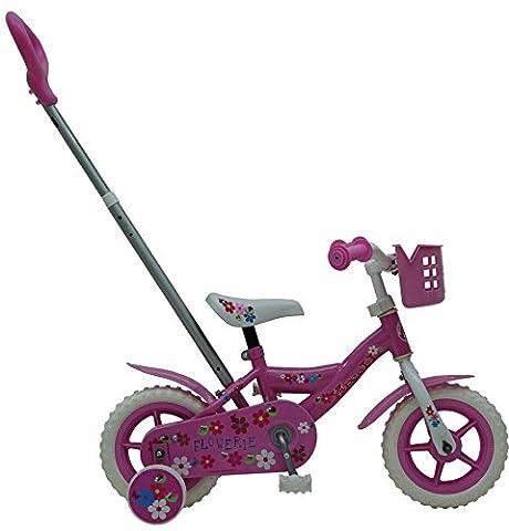 Vélo Enfant Fille Roues 10 Pouces avec Poignée de Poussée Panier et Pignon Fixe Rose - 85% Assemblé