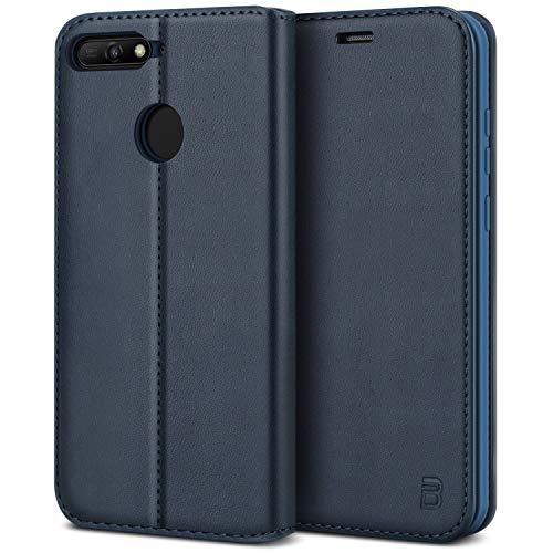 BEZ® Handyhülle für Huawei Y6 2018Hülle, Handyhülle Kompatibel für Huawei Y6 2018Tasche, Flip Case Cover Schutzhüllen aus Klappetui mit Kreditkartenhaltern, Ständer, Magnetverschluss, Blau Marine