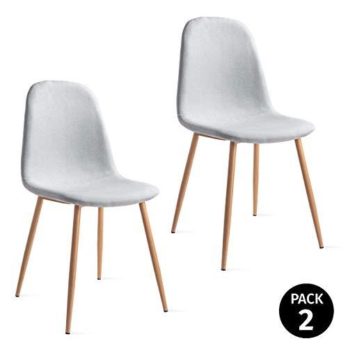 Mc Haus Gris Marengo Pack 2 sillas ELVA diseño nordico para Comedor...