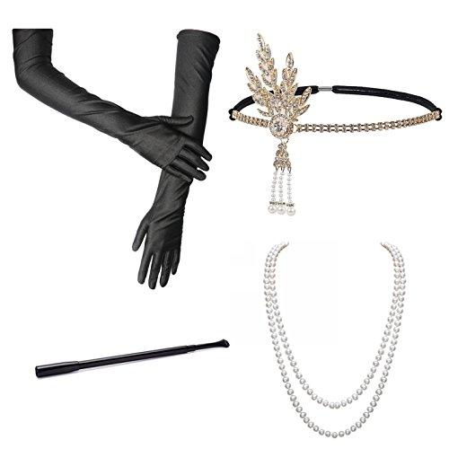 BigLion Mode 20 Jahre Accessoires Flapper Set Stirnband Ohrringe Perlen Halskette Lange Schwarze Handschuhe Zigarettenspitze Gatsby Accessoires (Amanda)