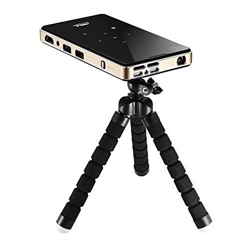 Mini Vidéoprojecteur 1080P LED Portable, NickSea Full HD Pico Projecteur san fil Ultra-Mince, Multimédia Home Cinéma avec Télécommande 3D Wi-Fi Bluetooth Android 5.1 Résolution Native 854*480(WVGA), Longue Vie de LED de 20000 Heures, Support iphone / ipad / Smartphone / TV / Xbox / PC (Noir)