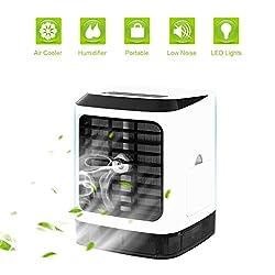 Tragbare Klimaanlage Air Cooler Luftbefeuchter,4in1 Mobile Klimaanlage Luftreiniger Büro Desktop-Luftkühler Mini-Ventilator für Zuhause, drinnen, Küche, im Freien