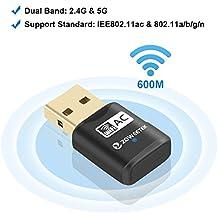 Zoweetek® Mini Adaptador USB inalámbrico Dual Band AC600 WIFI 2.4GHz 150Mbps o 5Ghz 433Mbps compatible con Windows XP/7/8/8.1/Mac X 10.7-10.10