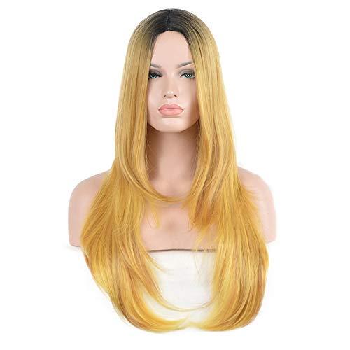 Perücke Europa und die Vereinigten Staaten Harajuku Wind lange glatte Haare in den goldenen Highlights Kopf schwarze Perücke -