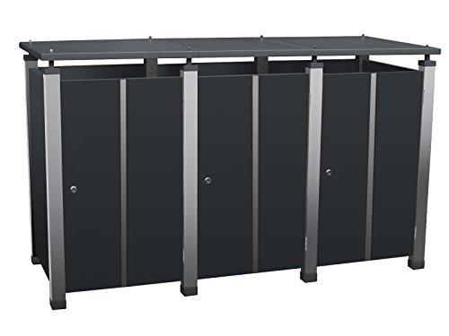 Mülltonnenverkleidung Metall, Modell Pacco E Quad19 für drei 120 ltr. Tonnen