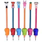 VerteLife 6 Stück Silikon Stiftehalter Ergonomische Schreibhilfe Grip für Stift Bleistift Griffe + 6 Stück Bleistift Schutzhülle Bleistiftkappen Bleistift-Topper Schulschreibsets für Kinder Schüler